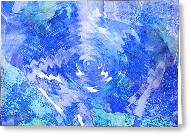 Blue Twirl Abstract Greeting Card by Ann Powell