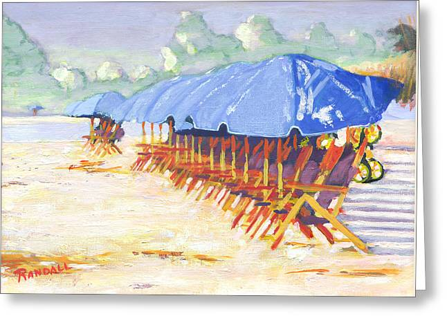 Blue Umbrellas Greeting Card by David Randall