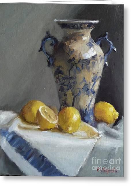 Blue Vase And Lemons Greeting Card