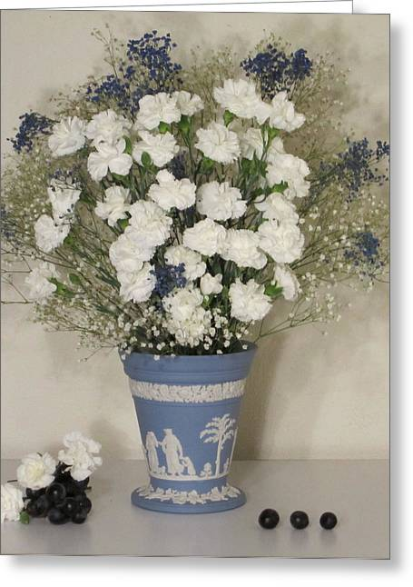Blue Vase Floral With Grapes Greeting Card by Good Taste Art