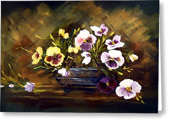 Blue Vase With Pansies Greeting Card by Dorothy Maier