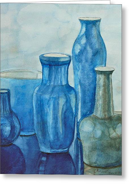 Blue Vases I Greeting Card
