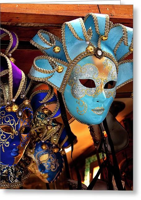 Blue Venetian Masks, Venice, Italy Used Greeting Card