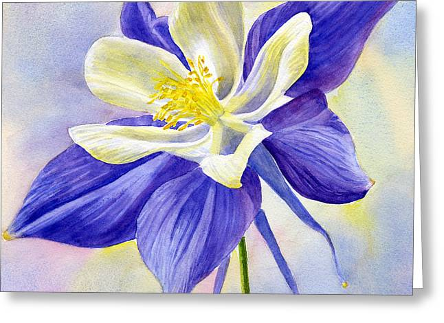 Blue Violet Columbine Blossom Greeting Card by Sharon Freeman