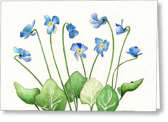Blue Violets Greeting Card