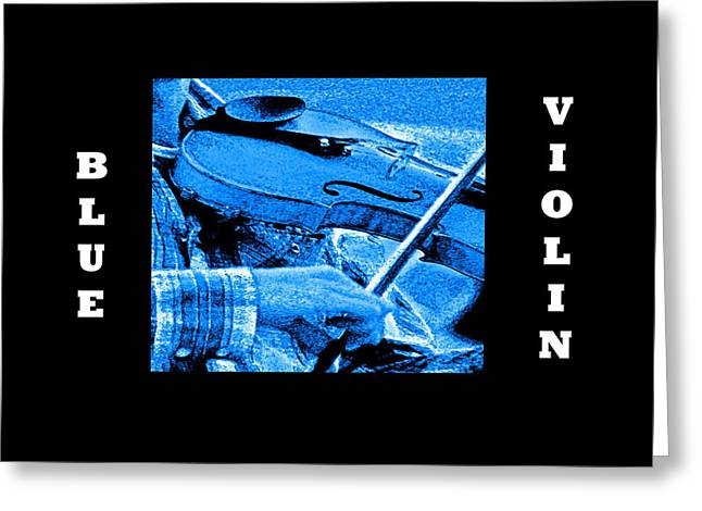 Blue Violin Greeting Card by Joseph Coulombe
