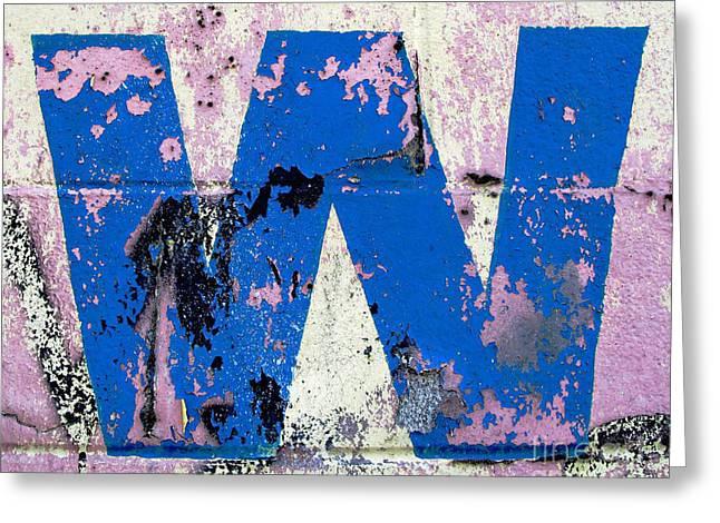 Blue W Greeting Card