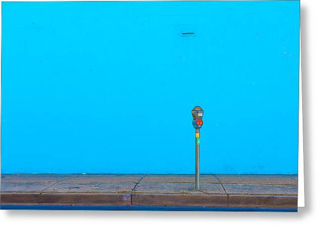 Blue Wall Parking Greeting Card by Darryl Dalton