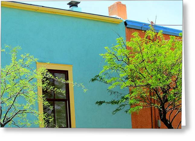 Greeting Card featuring the photograph Blue Wall Yellow Window by Brenda Pressnall