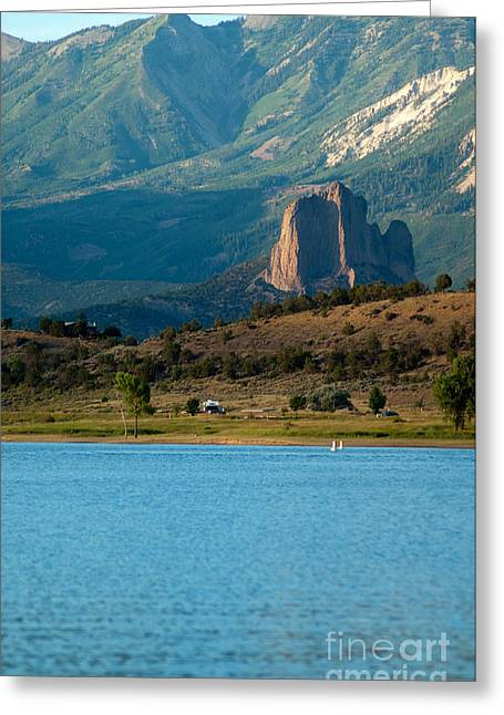 Greeting Card featuring the photograph Blue Water And Needlrock by Eric Rundle