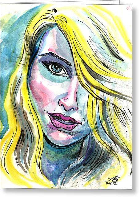 Blue Water Blonde Greeting Card