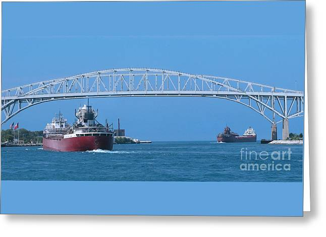 Blue Water Bridge And Freighters Greeting Card