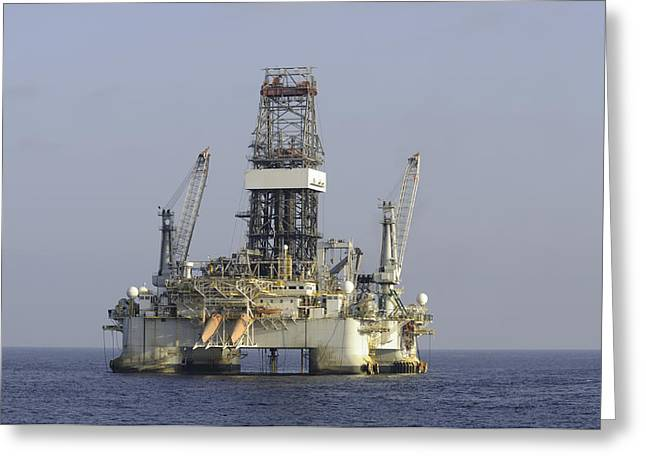 Greeting Card featuring the photograph Blue Water Oil Rig by Bradford Martin