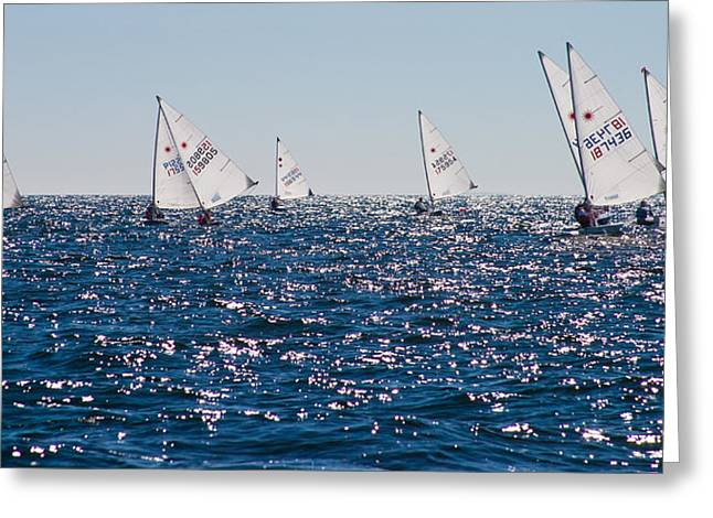 Blue Water Race Off Marblehead Greeting Card