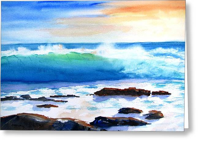 Blue Water Wave Crashing On Rocks Greeting Card