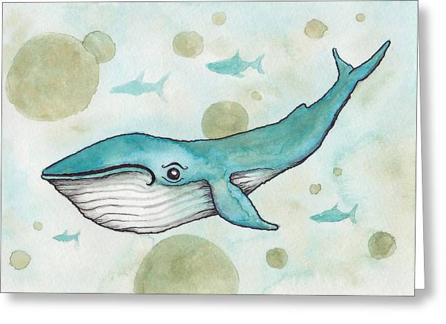 Blue Whale Greeting Card by Melissa Rohr Gindling