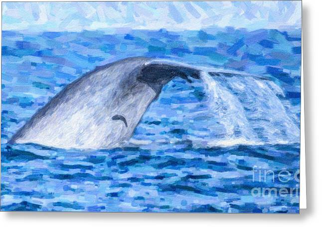 Blue Whale With Remoras Greeting Card by Liz Leyden