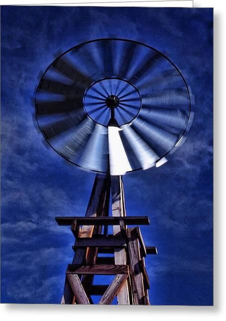 Blue Windmill Greeting Card