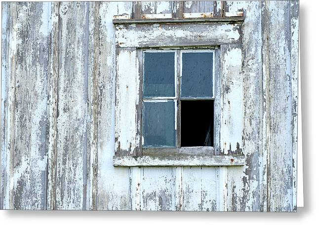 Blue Window In Weathered Wall Greeting Card