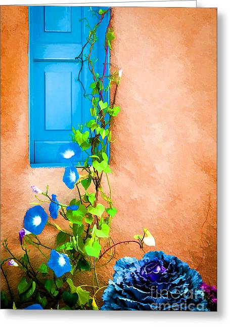 Blue Window - Painted Greeting Card by Bob and Nancy Kendrick