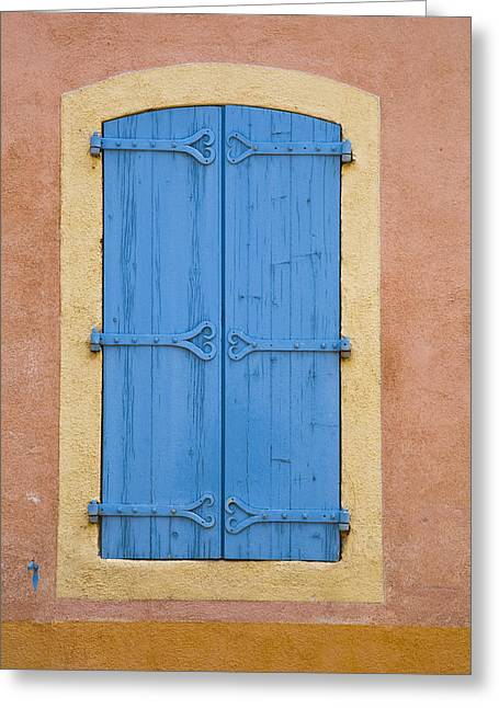 Blue Window Shutters Greeting Card