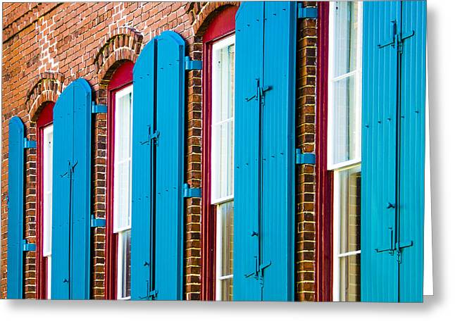 Greeting Card featuring the photograph Blue Windows by Carolyn Marshall
