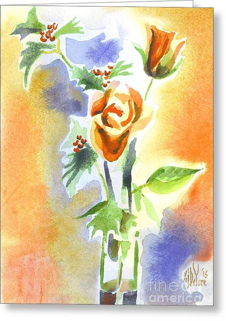 Blue With Redy Roses And Holly Greeting Card by Kip DeVore