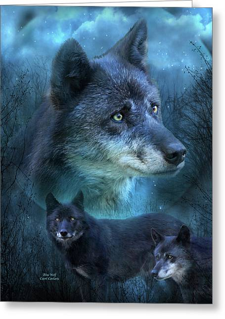 Blue Wolf Greeting Card by Carol Cavalaris