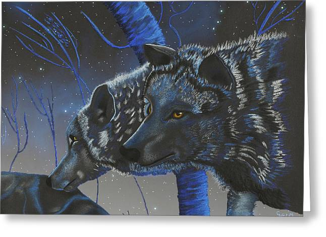 Blue Wolves With Stars Greeting Card by Mayhem Mediums