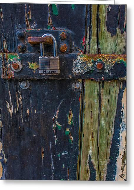 Blue Wooden Door Greeting Card by James Hammond