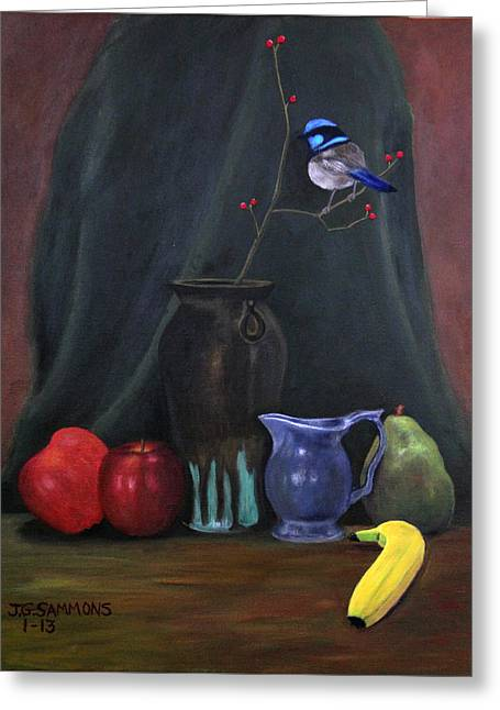 Greeting Card featuring the painting Blue Wren And Fruit by Janet Greer Sammons