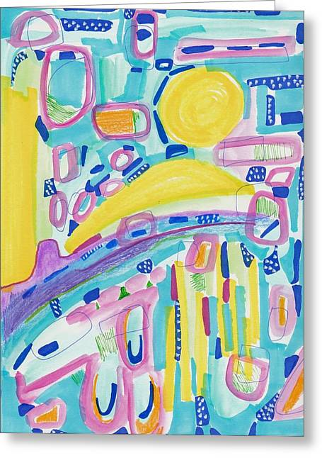Blue Yellow And Pink Greeting Card