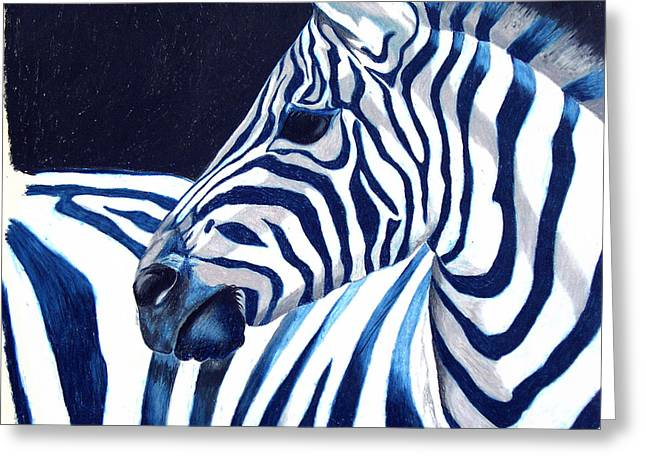 Blue Zebra Greeting Card by Alison Caltrider