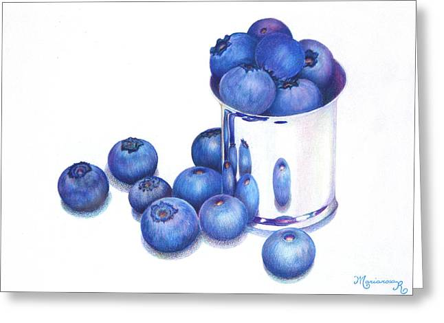 Blueberries And Silver Greeting Card by Mariarosa Rockefeller