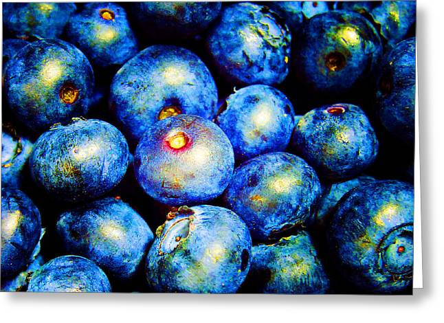 Blueberries Greeting Card by Laurie Tsemak