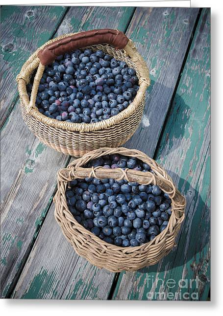 Blueberry Baskets Greeting Card by Edward Fielding