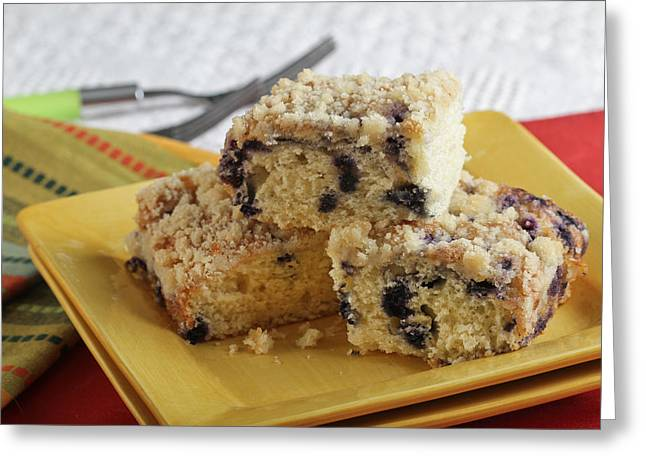 Blueberry Coffeecake Greeting Card by Sarah Christian
