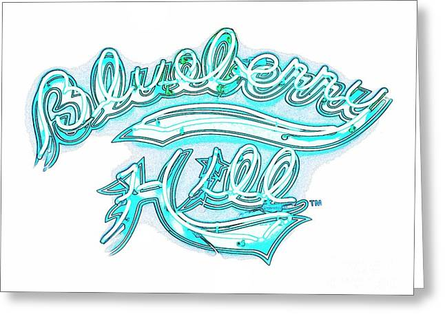 Blueberry Hill Inverted In Neon Blue Greeting Card