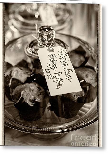Blueberry Muffins Sepia Greeting Card by Iris Richardson