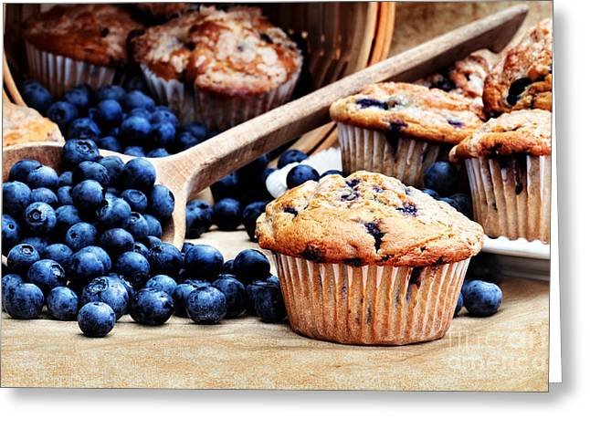 Blueberry Muffins Greeting Card by Stephanie Frey