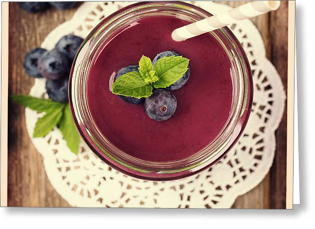 Blueberry Smoothie Retro Style Photo.  Greeting Card by Jane Rix