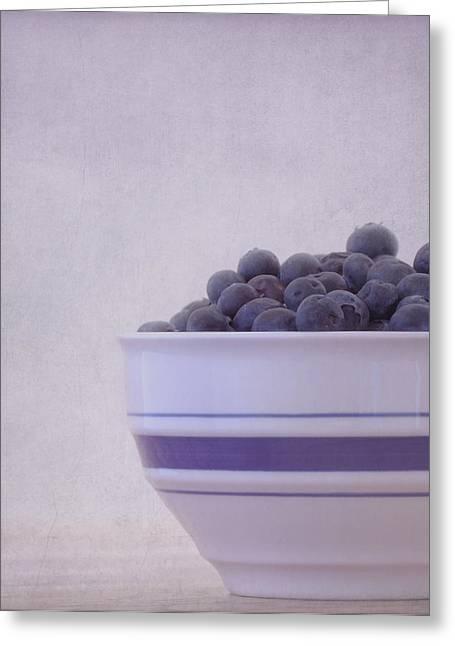 Blueberry Splash Greeting Card by Kim Hojnacki