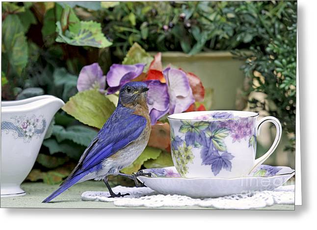 Bluebird And Tea Cups Greeting Card
