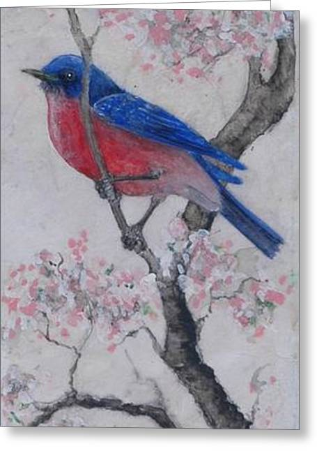 Bluebird In Cherry Blossoms Greeting Card by Sandy Clift