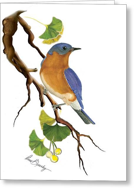 Bluebird In Ginkgo Tree Greeting Card