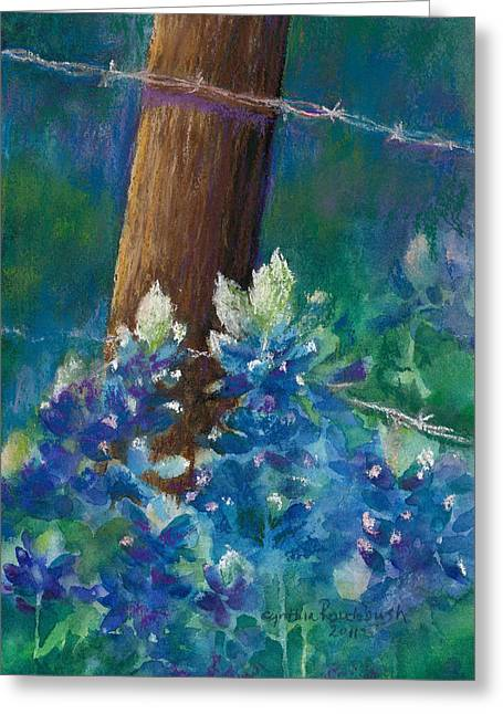 Bluebonnets At The Fencepost Greeting Card