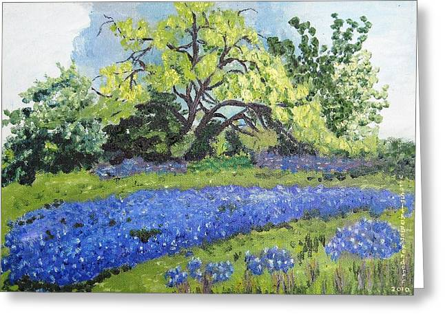 Bluebonnets On A Stormy Day Greeting Card