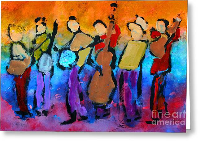 Bluegrass Band Greeting Card by Mordecai Colodner