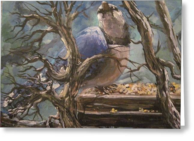 Greeting Card featuring the painting Bluejay by Megan Walsh