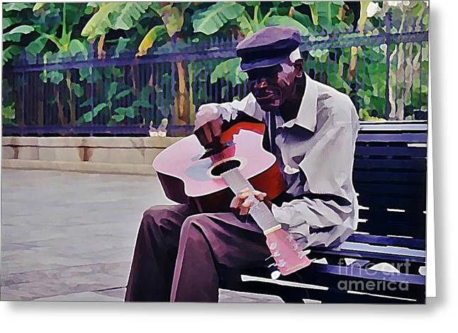Blues Guitar Player In New Orleans Greeting Card by John Malone